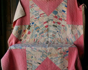 Antique Quilt Star Pattern Pink Blue White 74 x 74 Vintage From Nowvintage on Etsy