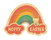 Easter Rainbow - Real Wood Easter Card - Rainbow Card - Die-Cut Wood Card - Hoppy Easter - WC1392