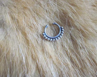 Sterling Silver dotted Balinese faux septum ring