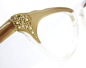 Vintage France Cateye Glasses eyeglasses Sunglasses Frames Rhinestones