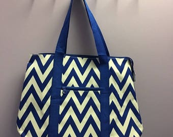 Personalized Royal Blue Chevron Oversized Tote Bag