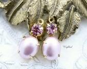 Set Stones Earring Drops Oval Stones 1 Ring Brass Settings Lavender Pearl & Light Amethyst Swarovski Dangle 18x8mm - 2