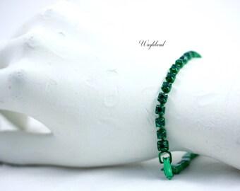 Vintage Swarovski Rhinestone Bracelet Metallic Green & Emerald Green - 1
