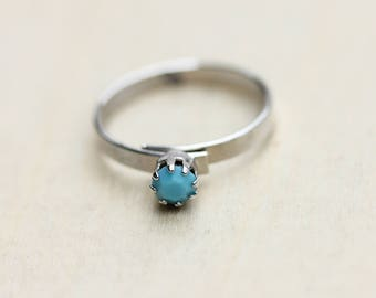 Turquoise Stone Ring, Silver Turquoise Ring, Turquoise Ring, Crystal Ring, Dot Ring, Silver Crystal Ring, Blue Silver Ring