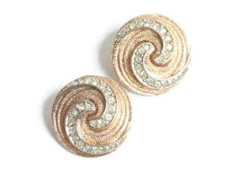 Clear Rhinestone Earrings Swirled Design Gold Tone Signed Kramer Clip On Vintage
