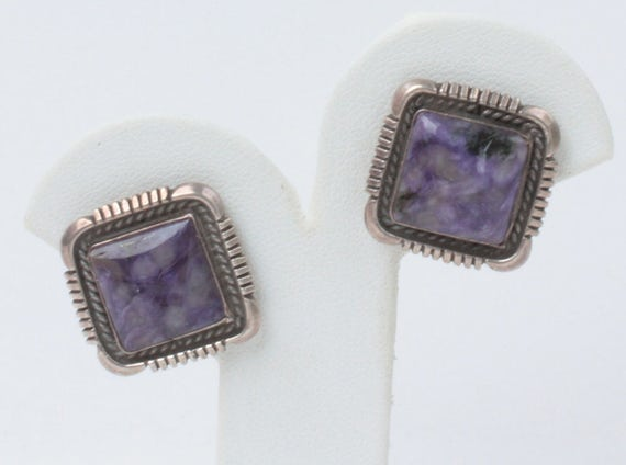 CIJ Sale Charoite Sterling Earrings Square Signed E Belone Native American Navajo Vintage