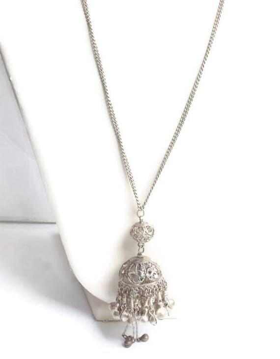Long Belly Dancer Necklace Vintage Silver Tone Metal Boho Ethnic