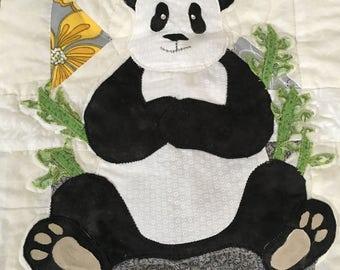 Handmade Panda Baby Quilt Blanket! Asian -inspired Yellow Grey 100% Cotton