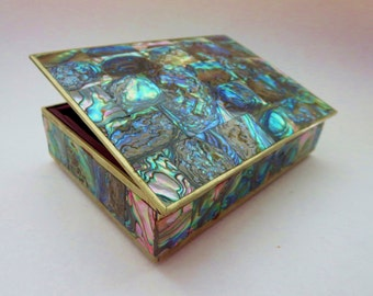 Vintage Alpaca Silver & Abalone Hinged Box - Cigarette Jewelry Trinket Box with Red Wood Inside - Made In Mexico