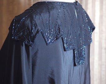 Art Deco - Black Beaded Silk Blouse - 1920s Style