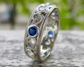 Diamond & Blue Sapphire Wedding Band in 14K White Gold with Milgrain Detailing on Ring Edges and Scrolls Size 7.5 - RESERVED for Larkin