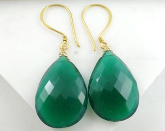 Large Emerald Green Onyx Earrings In Gold Vermeil, Statement Earrings, July Birthstone
