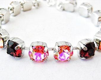 Swarovski Crystal Bracelet - Rose Peach Glacier Blue and BurgundyTennis Bracelet, Rhinestone Bracelet , Great Gift