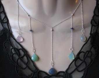 Multi Drop Necklace with Chalcedony in Silver