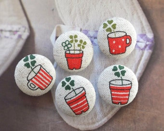 Zakka Brown Orange Geometry Stripe Dots Four Leaves Lucky Clovers Floral Flowerpots Cups-Handmade Fabric Covered Buttons(0.87 Inches, 5PCS)