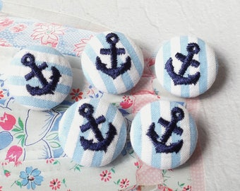 Embroidered Dark Blue Nautical Marine Anchors On Sky Blue Stripes-Handmade Fabric Covered Buttons(0.87 Inches, 5PCS)