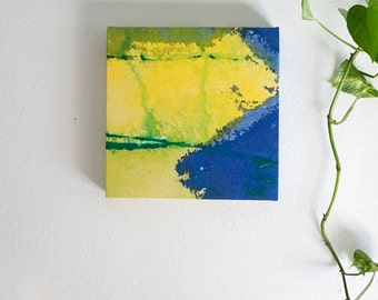 """Original Abstract Expressionism Modern Art, Abstract Acrylic Painting, 10x10"""" blue, yellow, green, """"Colorblock 17"""" minimal stained canvas"""