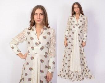 Vintage 70s MAXI Dress / 1970s Gunne Sax Style Ivory Floral Cotton & Lace Boho Dress S