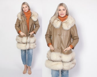 Vintage 60s FOX Trim COAT / 1960s Tan Leather Jacket with Fluffy Arctic Fox Fur Collar and Hem
