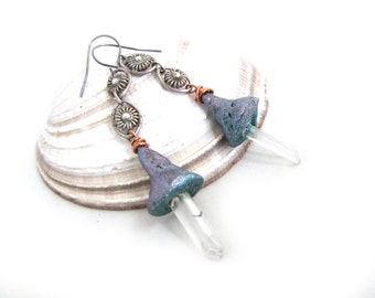 Semblance - Quartz Crystal and Vintage  Silver Chain and Shimmery Blue and Pink Tone Clay Bells Dangly Boho Earrings