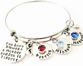 Personalized Mom Bracelet, The Love between a Mother and Son, Gift for Mom, Mom Bracelet, Mothers Bracelet, Christmas Gifts, Handstamped