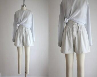 ash white high waisted shorts