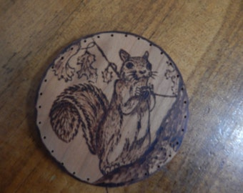Wood Burnt Image of a Squirrel  Basket Bottom or Other Craft Project