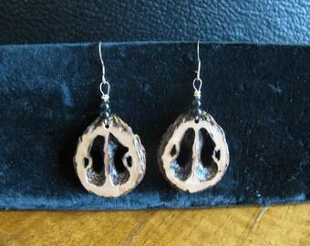 Handcrafted Wood Burnt Black Walnut Slice Pierced Earrings