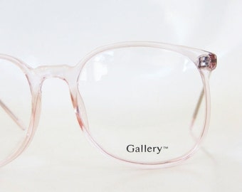 ON SALE Vintage Pink Eyeglasses Clear Cotton Candy 1980s Round P3 Eyeglass Frames Indie Hipster Chic 80s Eighties Light Clear Pastel