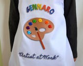 Reserved ONE Boy's Bow tie  Apron with UPGRADE Painting Pottery Personalized Birthday Apron Smock with Palette adorned colorful Buttons