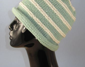 50% OFF SALE Instant Digital PDF Download knitting Pattern - Roll Brim Topknot Beanie