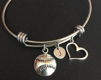 Softball bracelet Softball Bangle charm bracelet Softball Mom Friendship bracelet Sports bracelet Personalized charm bracelet