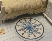 1:12 Rug - Blue on White - Dollhouse Scale Miniature Embroidered Handmade Shabby Cottage Victorian **FREE SHIPPING**