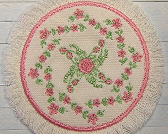 1:12 Rug **FREE SHIPPING** Pink Roses - Embroidered Handmade Dollhouse Scale Miniature - Shabby Cottage Victorian