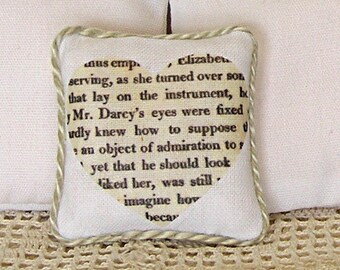 1:12 Pillow Heart Pride and Prejudice - Dollhouse Scale Miniature Shabby Cottage Chic Valentine **Free Shipping**