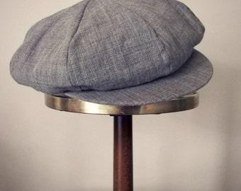 Vintage newsboy woven gray cap hat wool hepcat