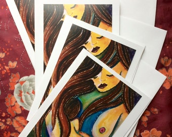 Note Cards set of 4, Birth Art Note Card Set, Doula, Midwife, Thank-you Card