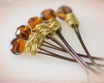 Beaded Bobby Pins - Tortoise Shell Glass Beads. Amber Honey Colored Beads. Boho Accessories.