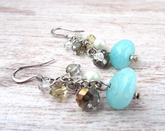 Womens Boho Dangle Earrings - Womens Gemstone Earrings - Bohemian Gemstone Earrings - Boho Dangle Earrings - Gemstone Earrings - 2015 Emmys