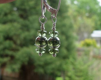 Rare Genuine Faceted Gem Quality Moldavite Gemstone Sterling Silver Dangle Earrings