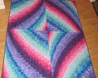 Whirling Bargello Batik Lap Quilt