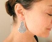 Large silver earrings Silver fan earrings Large earrings Silver dangles Big earrings Decorated Victorian dangles Lightweight Sterling wires.