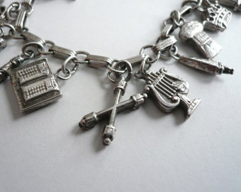 Masonic Order Eastern Star Vintage Sterling Silver Complete Set Charm Bracelet 18 Original Masonic Charms Full set