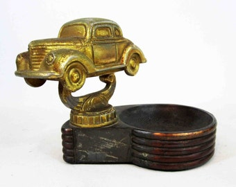 Vintage Car Ashtray Trophy in Brass and Cast Iron. Circa 1930's.