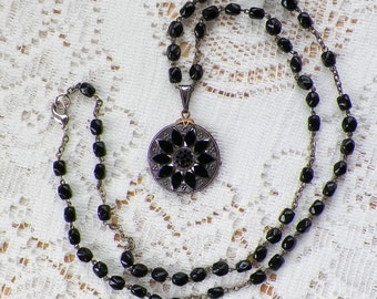 Upcycled Vintage Carved Jet Black Glass, Silver Intaglio Round Medallion Pendant / Necklace, Vintage Black Glass Beads / Beaded Prayer Chain