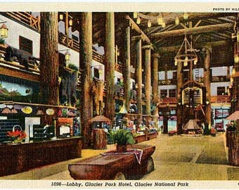 Vintage Montana Postcard - The Lobby of Glacier Park Hotel, Glacier National Park (Unused)