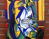 Weeping Woman - Recreation of Picasso Painting -  Original Abstract Acrylic Painting by Mizu