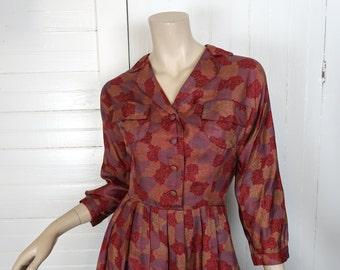 40s / 50s Silk Dress in Red Swirls- 1950s Pleated- Medium- Long Sleeve