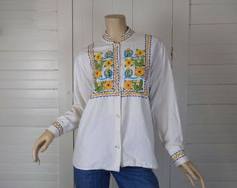 60s / 70s Embroidered Blouse in White Cotton- 1960s Peasant Gypsy Hippie Festival Boho- Ethnic