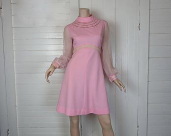Futuristic Pink Mini Dress- 1960s / 60s Mod- High Neck- Sheer Sleeves- Medium